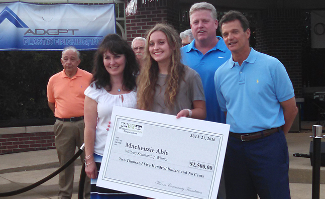 2016 Wilfred Scholarship recipient: Mackenzie Able pictured above with her family and Congressman David Trott, and Harley Chinchilla (not pictured) ($2,500.00 each)