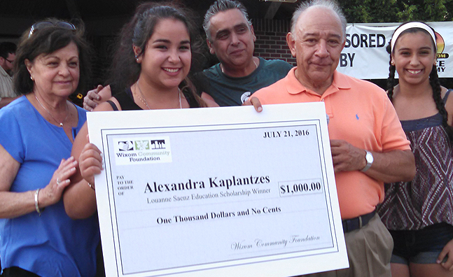 2016 Saenz Scholarship recipient: Alexandra Kaplantzes pictured above with family and Rene Saenz ($1,000.00)
